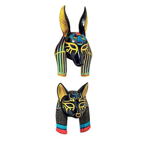 Masks of Ancient Egyptian Gods Sculpture, Set of Anubis and