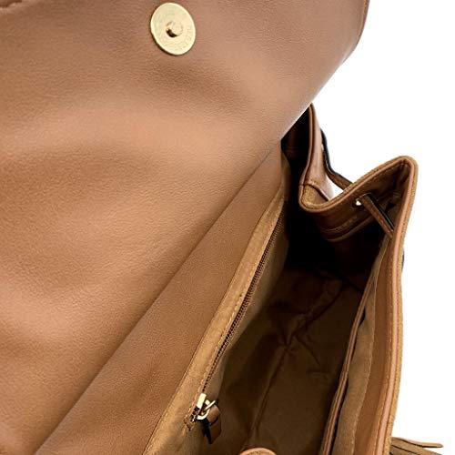 Angkorly Moda Mini Tendenza Vintage Elegante Borchiati Idea Per Zainetto Cammello Bcbg Pon Di Borsa Mano Crossbody Tote Donna retrò Ogni Bag Sobrio A Frange Giorno Regalo rRIxqrBPw