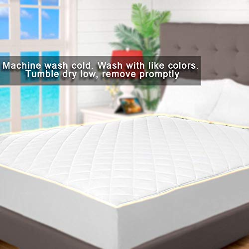 Cooling Mattress Topper Twin Xl Quilted Fitted Mattress Pad Hypoallergenic Down Alternative Fiberfill Stretch to Fit All Mattresses from 6 to 15 Deep a Fully Elasticized Deep Fitted Skirt Microfiber by Indipartex (Image #1)