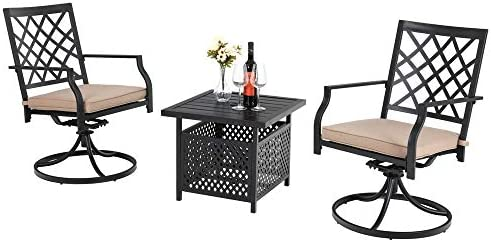 PHI VILLA Patio Metal 360 Degree Swivel Dining Chairs and Umbrella Table Furniture Set