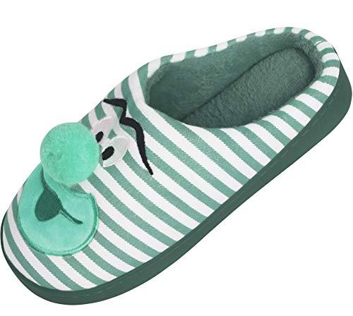 Women's Cozy Fleece Memory Foam House Trick or Treat Halloween Slippers Light Green 15In