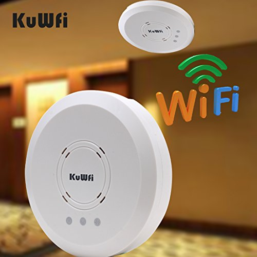 KuWFi X9600 802.11N POE Ceiling-Mounted 300Mbps Ceiling Mount Wireless Access Point AP Router cover Support 50 Users by KuWFi