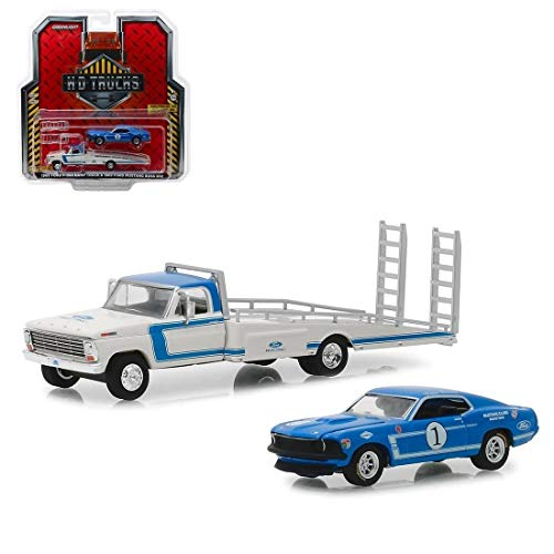 1969 Ford F-350 Ramp Truck Ford Racing White and Blue with 1969 Ford Mustang Boss 302#1