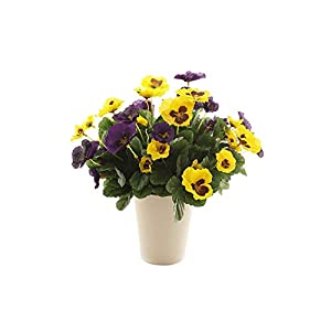 Maylife Artificial 37 cm Yellow Pansy and Purple Pansy Display in a White Round Pot 93