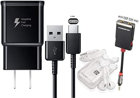 Offical OEM Samsung Adaptive Fast Charging Black Charger – for Samsung Galaxy S8 S9 S10 Note8 Note9 W Headset Splitter Combo Pack