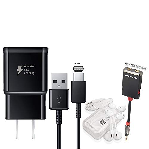 (Offical OEM Samsung Adaptive Fast Charging Black Charger - for Samsung Galaxy S8/S9/S10+/Note8/Note9 & W/Headset & Splitter (Combo Pack))