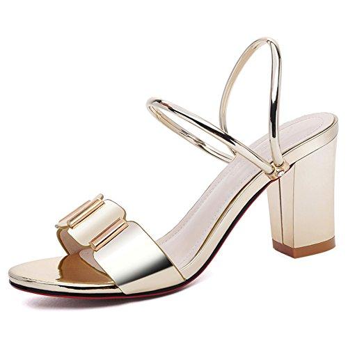 Verano desgaste de moda gruesa con sandalias/Una banda de tacones B