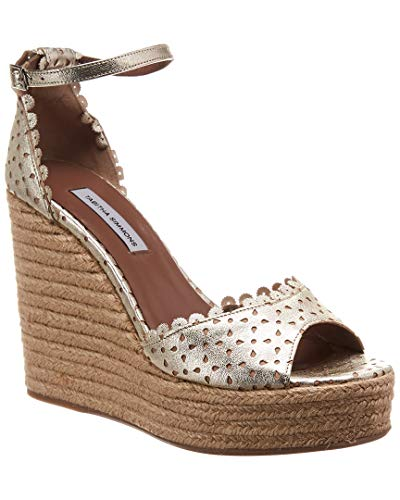 Metallic Leather Espadrille Wedge, 36.5, Metallic ()