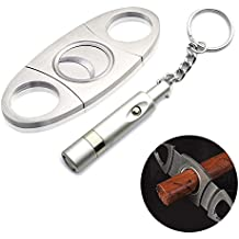 Stainless Steel Cigar Cutter Cigar Punch with Key Chain Silver