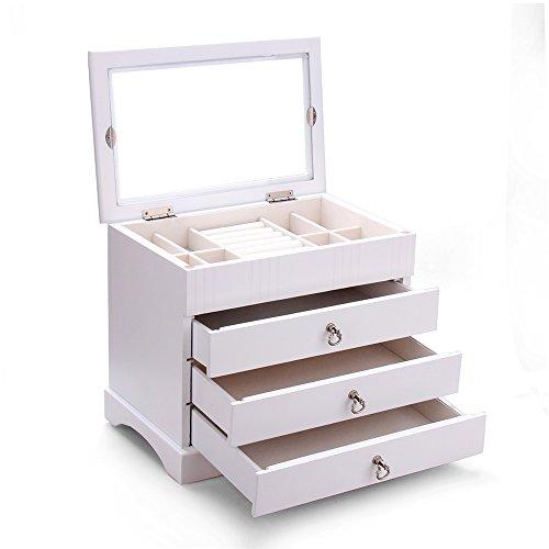 Schmuckkasten aus hart Holz schmuckkoffer Kosmetikkoffer Schmuckkästchen Holzbox Aufbewahrungsbox für Schmuck MG001 (weiß)