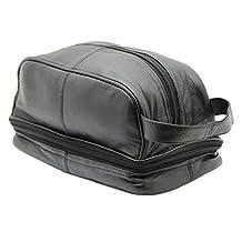 MEN'S GENUINE LEATHER TRAVEL OVERNIGHT WASH GYM TOILETRY BAG #3530 (Black)