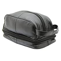 RAS Mens Genuine Leather Travel Overnight Wash Gym Toiletry Bag With Carry Handle Black/Brown - 3530