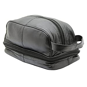 Ras Men's Genuine Leather Travel Overnight Wash Gym Toiletry Bag With Carry Handle – 3530 (Black)