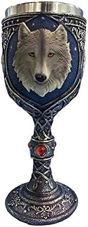 LIOOBO Taza de Cáliz de Lobo Copa de Lobo Acero Inoxidable Celta Mágica Cerveza Cáliz Cáliz Copas de Vino con Piedras Preciosas Rojas para Fiesta