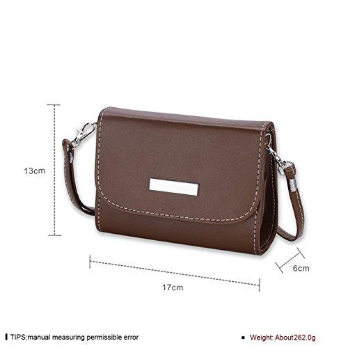THEE Damen Handtasche Tote PU Handtasche mit Schulterriemen Braun drDNig