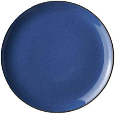 プレートクリエイティブヨーロッパブルー西洋食器家庭用セラミック朝食プレートギフト (Color : BLUE, Size : 27*27*2.5CM)