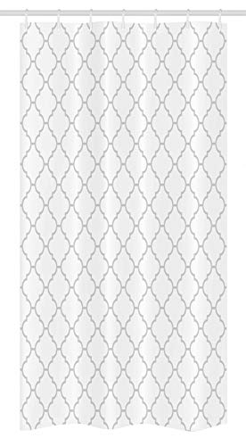 Ambesonne Grey Stall Shower Curtain, Simple Monochrome Patterns Geometric Linked Forms on Plain Background Modern, Fabric Bathroom Decor Set with Hooks, 36 X 72, White Gray