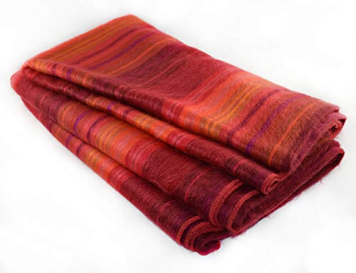 Wool Blanket Blend Throw (Qisu Alpaca Wool Blanket Throw | Large, Beautiful, Warm | 85 x 65 inches | Ultra-Soft, Hypoallergenic and Breathable | Non-Itchy or Scratchy Fabric | Made in Ecuador (Pink/Red Variegated))