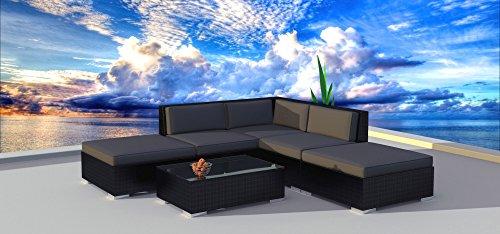 6 Piece Side Set - Urban Furnishing.net - BLACK SERIES 6a Modern Outdoor Backyard Wicker Rattan Patio Furniture Sofa Sectional Couch Set