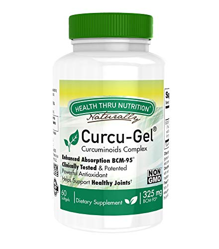 Curcu-Gel 325mg BCM-95 High Absorption Bio – Curcumin Complex – Soy-Free – NON GMO (250mg total Curcuminoids with Essential Oils of Turmeric Rhizome) 60 Softgels