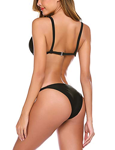 Avidlove Sexy Bikini Set Womens Print Triangle Top Tie Side Bottom Bikini Swimsuit Black,L