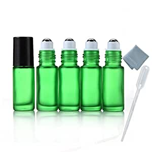 Elfenstall- 5pcs Thick 5ml(1/6oz) Roll on Glass Bottle Frosted green for Essential Oil Empty Aromatherapy Perfume Bottle - Refillable w/ Stainless Steel Roller Ball 3ml Pipette dropper