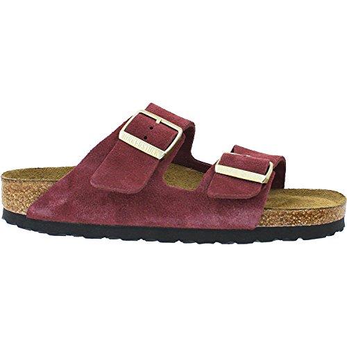 Birkenstock Suede Mules (Birkenstock Unisex Arizona Bordeaux Soft Footbed Suede Sandals - 7-7.5 2A(N) US Women)