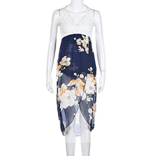 Vestido Largo de Las Mujeres, Ularma Vestido largo de encaje de la mujer de espaldas profundas v-cuello de cintura alta playa Azul