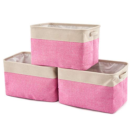 Pink Large Bin Storage - EZOWare Set of 3 Collapsible Large Cube Fabric Linen Canvas Storage Bins Baskets for Shelves Cubby Laundry Playroom Closet Clothes Shoe Baby Toy with Handles (Pink)