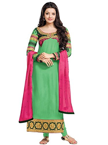 Vibes Women's Pure Georgette Dress Materials – Free Size, Green