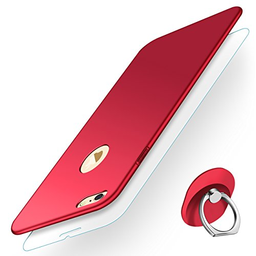 IPhone 6 Case, iPhone 6S Case, Ultra Slim Sleek Full Protective Matte Finish Hard PC Cover with Rotation Ring Stand Holder+Tempered Glass Screen Protector Thin Case for Apple iPhone 6/ iPhone 6S (Red)