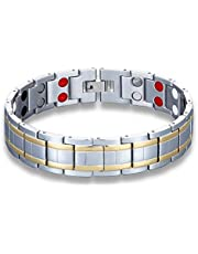 JFUME Mens Magnetic Therapy Bracelet Pain Relief for Arthritis 18K Gold Plated with Silver Color 8.3Inches