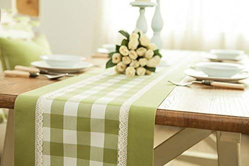 JJD 綿布緑と白の格子北ヨーロッパ牧歌的なスタイルキッチンベッドサイドタオルテレビカバー(利用可能な180220 * 33 cm、)( (サイズ : 33*220cm) 33*220cm  B07RGHBJDH