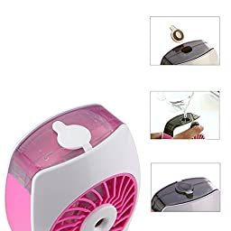 Niceshop Portable mini USB Rechargeable Cooling Replenishment Fan Powered by 18650 Rechargeable 3 Speeds Hydrating Fan (Pink)