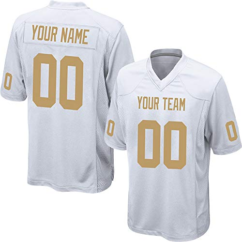 Custom Men's White Mesh Football Game Jersey Stitched Team Name and Your Numbers,Gold Size L