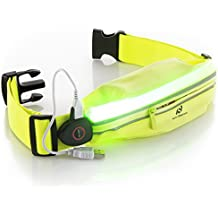 Reflective Running Gear - LED Belt with USB Rechargeable Light - Key, iPhone X 6 7 8 Plus Cell Phone Holder for Runners - Waist Fanny Pack for High Visibility