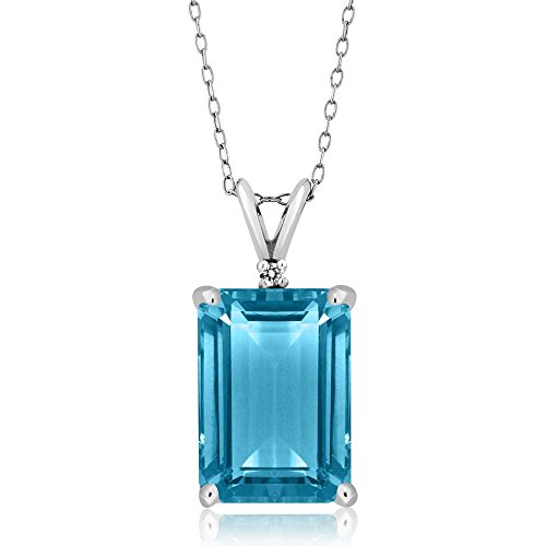 Gem Stone King Sterling Silver Swiss Blue Topaz Pendant Necklace 9.72 cttw Genuine Emerald cut 14X10MM Gemstone Birthstone with 18 Inch Silver Chain