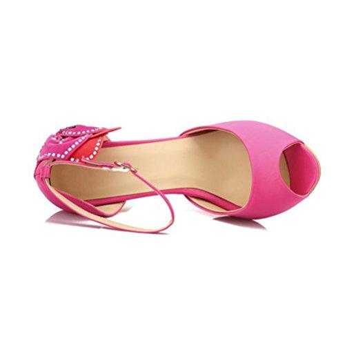Bouche Grande Sandales Fleurs Talons Poissons QPYC Chaussures Taille Talon Fine Roman Parti Femme Femmes pink Sandales Hauts Chaussures Femmes Boucle Strass I0XwX6aqYx