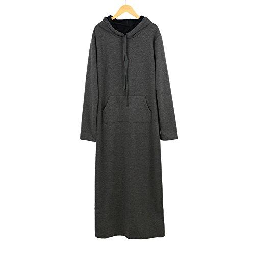 Eault Elegant Hot Sale Long Women Dress Front Pocket Long Sleeve Winter Dress Fleece Casual Loose Dress Vestidos Plus Size Dress GrayM - Hot Women Uae