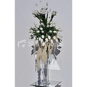 Snow White Tulip, Iris and Amaranthus Tall Floral Arrangement 85