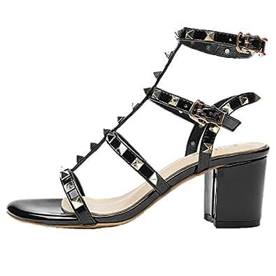 Royou Yiuoer Women Dress Sandals Patent Leather Gold Stud Peep Toe Chunky High Heel Gladiator Shoes Black 7cm 4 US