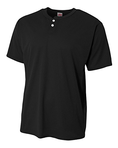 Youth Black Large 2-Button Mesh (Blank) Henley Uniform Jersey Top