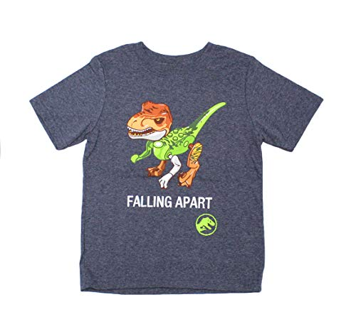 LEGO Jurassic World Dinosaur Boy's Short Sleeve T-Shirt Tee (14/16), Charcoal