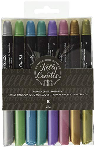 (Kelly Creates 304481 718813435550 Metallic Jewel Brush Pens 8/Pkg)