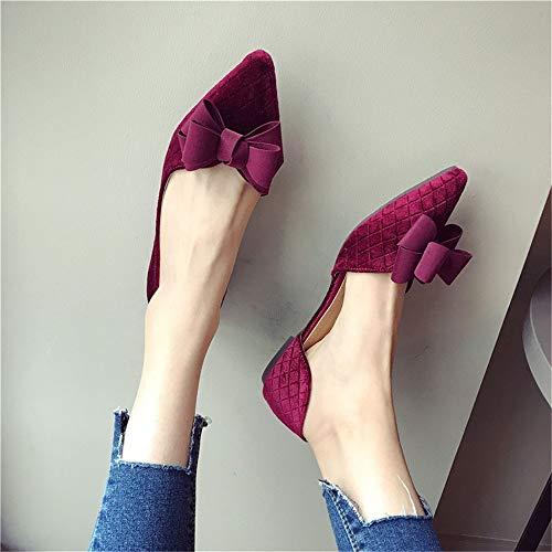 vino rosso lavoro Autunno fiocco Moda EU lato Appartamenti scamosciata 41 41 EU scarpe elegante FLYRCX Primavera in pelle scarpe da e F74wFqaP