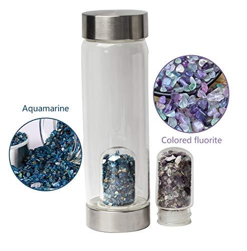 - AMOYSTONE Crystal Gemstone Drinking Bottle 16 Oz Water Bottle with Fluorite and Aquamarine Pod