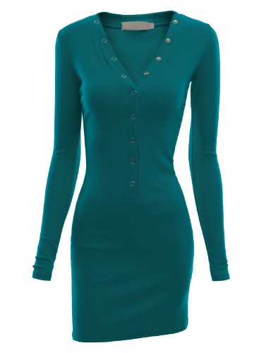 Button Doublju for Henley Hoodie Slim Kwop044 Fit Women with teal Down Size Plus Dress Ribbed Knit r4qwrIzFx