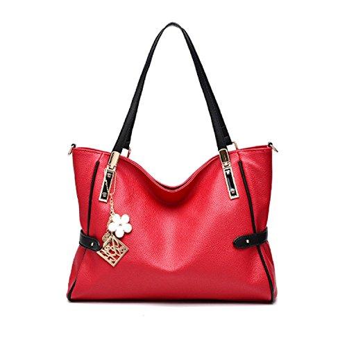 Bag Wizard PU Leather Top Handle Satchel Handbags Shoulder Bag Messenger Tote for Women (Burgundy)
