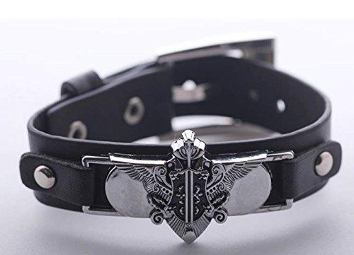New Arrival Kuroshitsuji Black Butler Leather with Alloy Bracelet