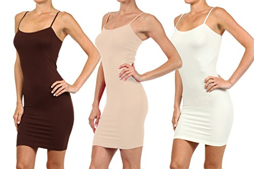 3 Pair Pack - Women's Seamless Long Camisole Slip Dress (Brown/Oyster/Ivory, One Size) (Stretch Slip Camisole)